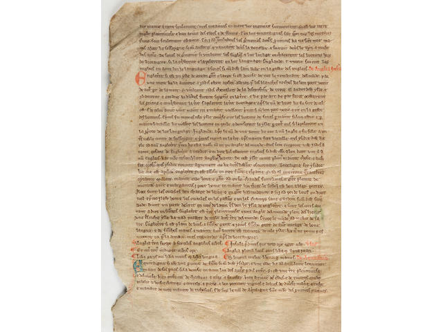 """BARTHOLOMAEUS ANGLICUS. c.1203-1272. Anglo-Norman manuscript on vellum, """"Le livre des region et des provins"""