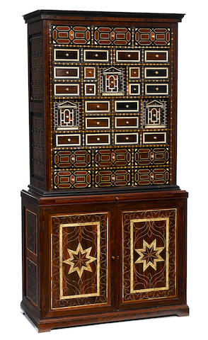A Continental Baroque style rosewood, ebony and bone marquetry cabinet <BR />19th century