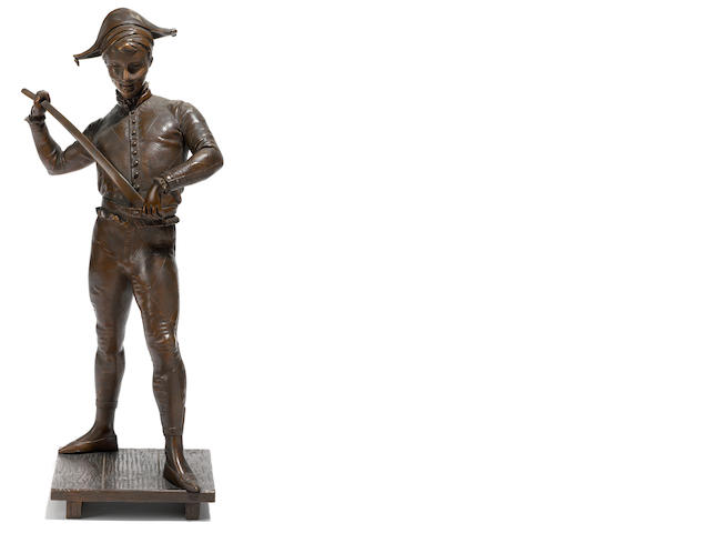 A French patinated bronze figure of a harlequin <BR />after a model by Paul Dubois (French, 1829-1905)<BR />early 20th century