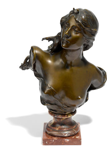 A French patinated bronze bust of Diana <BR />after a model by Paul Gasq (French, 1860-1944)<BR />late 19th/early 20th century