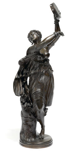 A French patinated bronze figure of a dancer: Zingara  after a model by Jean-Baptiste Clésinger (French, 1814-1883) F. Barbedienne foundry, Paris  late 19th century