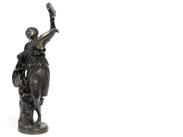 A French patinated bronze figure of a dancer: Zingara <BR />after a model by Jean-Baptiste Clésinger (French, 1814-1883)<BR />F. Barbedienne foundry, Paris <BR />late 19th century