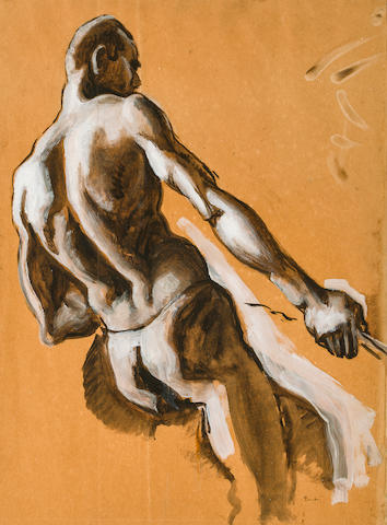 "Thomas Hart Benton (American, 1889-1975) Figure Study for ""Over the Mountains,"" a panel of ""The American Historical Epic,"" circa 1924 17 3/4 x 13 1/4in"