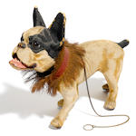 A French papier mâché model of a barking dog