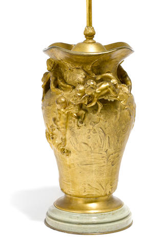 A French gilt bronze urn, L. Cousteau, now mounted as a table lamp