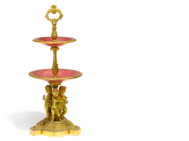 A Napoleon III gilt bronze and gilt heightened ruby glass two tier tazza