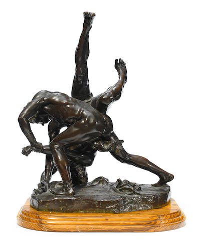 A good French patinated bronze figural group  after a model by Felix Charpentier (French, 1858-1924) E. Colin & Cie foundry, Paris late 19th century