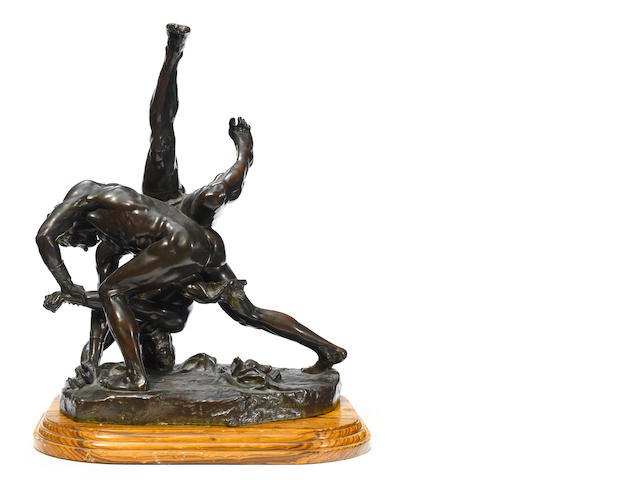 A French patinated bronze figural group depicting wrestlers <BR />after a model by Felix Charpentier