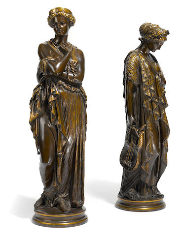 A pair of French patinated bronze figures: Sappho and Hélène <BR />after models by Jean Baptiste Clesinger (French, 1814-1883)<BR />F. Barbedienne foundry, Paris<BR />late 19th century