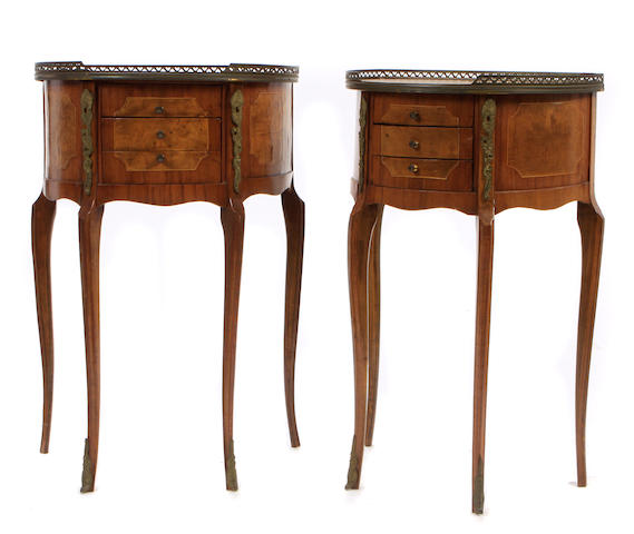 A pair of Louis XVI style gilt metal mounted walnut petit commodes