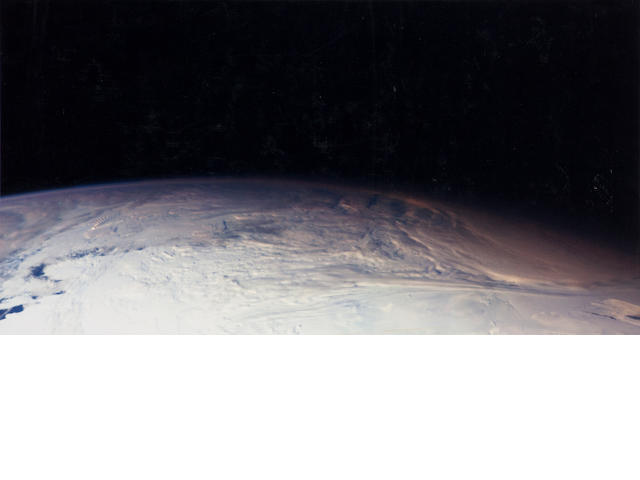 GALILEO. The limb of the Earth, looking north past Antarctica, December 8, 1990,