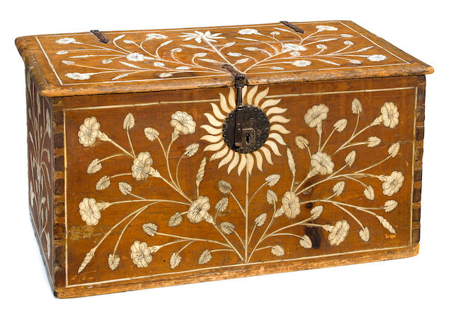 A Spanish Baroque bone inlaid walnut chest  late 17th century