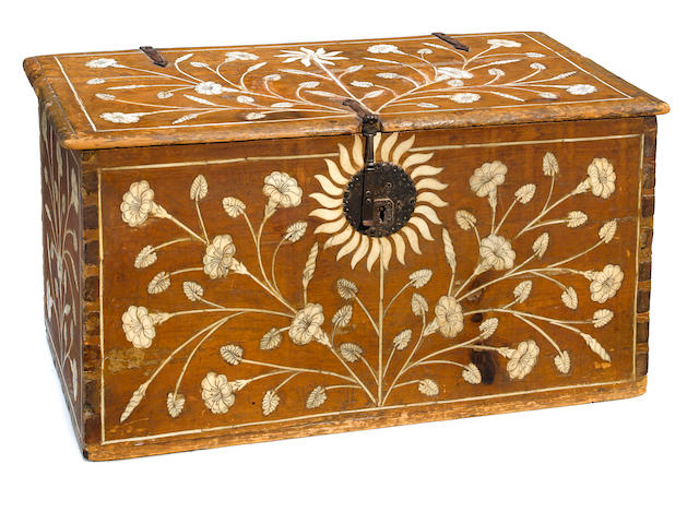 A Spanish Baroque bone and ivory inlaid walnut trunk