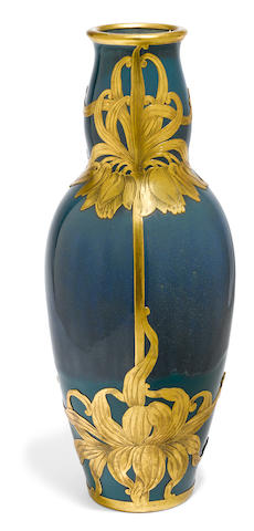 A French gilt metal mounted luster glazed porcelain vase