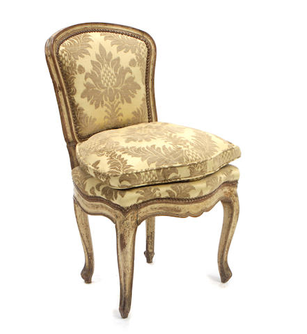 A Louis XV paint decorated side chair