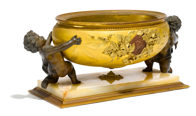 A French gilt and patinated bronze onyx centerpiece  late 19th century