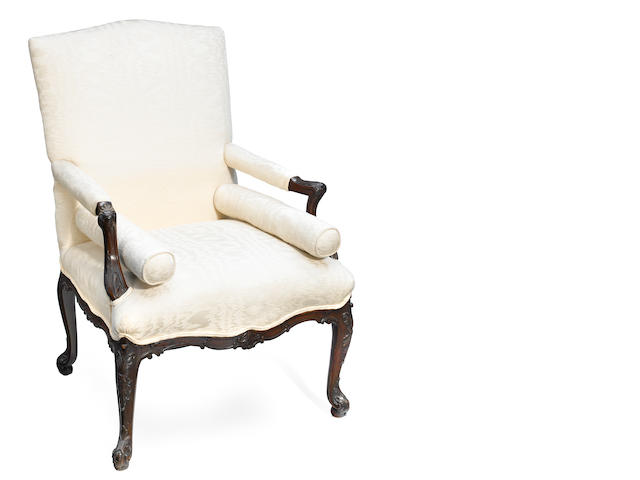 A George III upholstered armchair in the French taste <BR />18th century