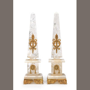A pair of Neoclassical style gilt-bronze-mounted rock crystal obelisks fourth quarter 20th century