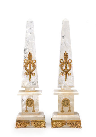 A pair of Neoclassical style gilt bronze mounted rock crystal obelisks fourth quarter 20th century
