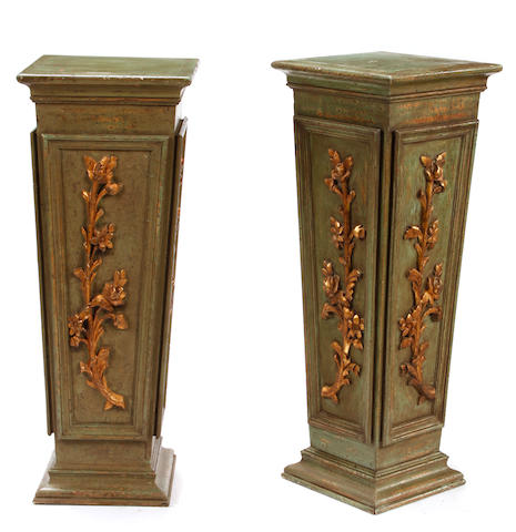 A pair of Italian Neoclassical style parcel gilt paint decorated pedestals