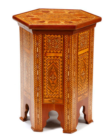 A pair of Levantine mosaic inlaid side tables