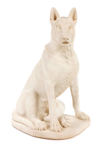 A carved marble figure of a German shepherd