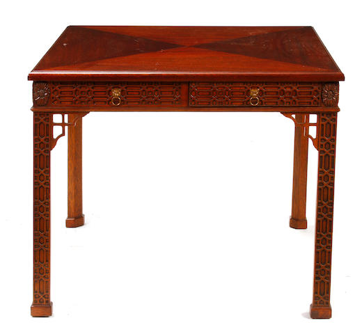 A Chinese Chippendale style games table