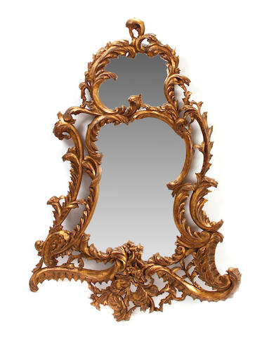 A pair of Louis XV style giltwood mirrors
