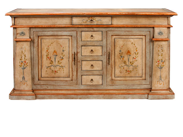 A Venetian Baroque style paint decorated credenza