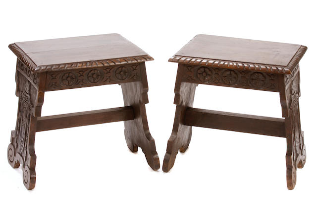 A small pair of Renaissance style benches