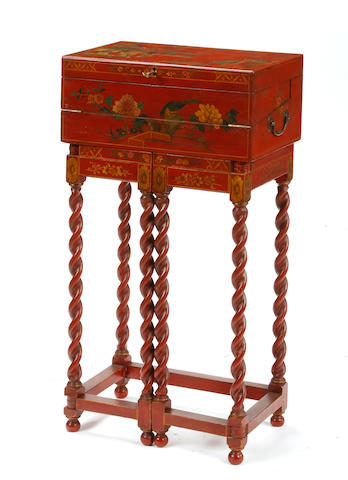 A Chinese Scarlet lacquered cabinet on a gateleg stand