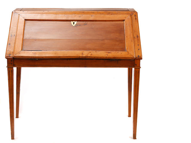 A Louis XVI Provincial style oak slant front writing desk