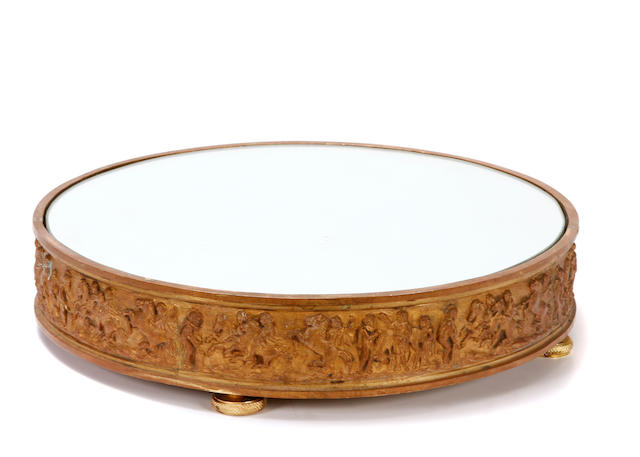 A Louis XVI style gilt bronze mirrored plateau