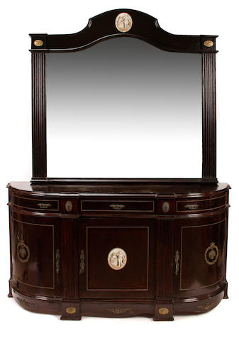 A Louis XVI style porcelain and bronze mounted buffet and mirror