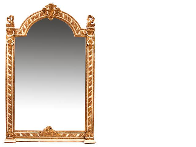 A large Neoclassical style paint decorated mirror