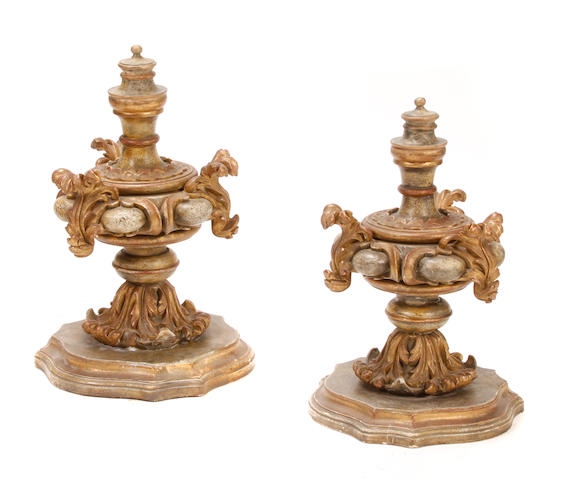 A pair of Italian Rococo style paint decorated finials