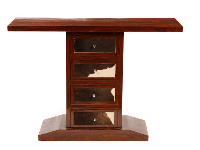 A pair of Art Deco style mixed wood and hide console tables