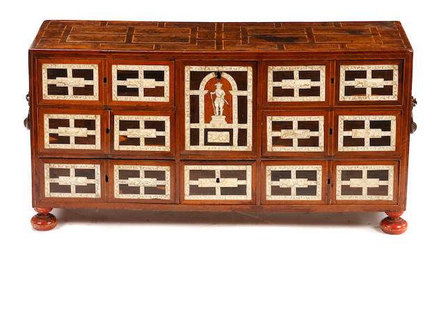 An Italian Baroque style bone inlaid table cabinet