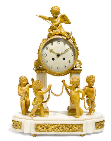 A Louis XVI gilt bronze and marble mantel clock