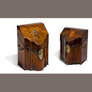 Two George III mahogany knife boxes
