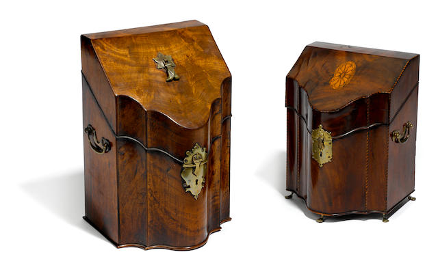 Two George III mahogany knife boxes  fourth quarter 18th century
