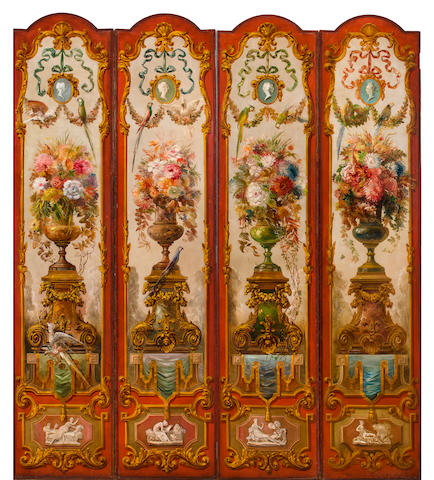 Four-Panel Decorative Screen Painted by Everett Shinn