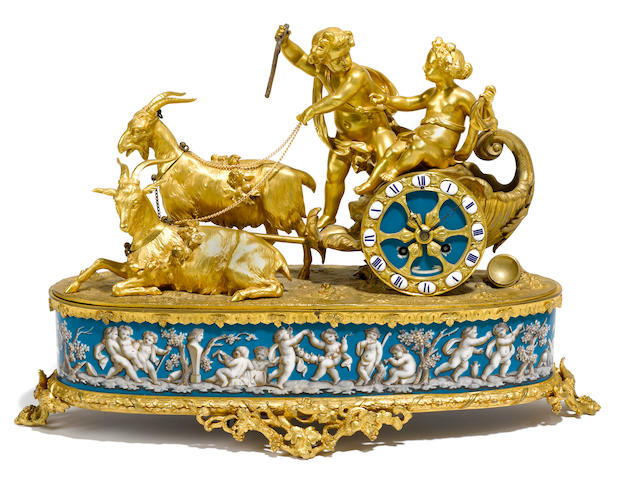 A French gilt bronze and porcelain mantel clock  late 19th century