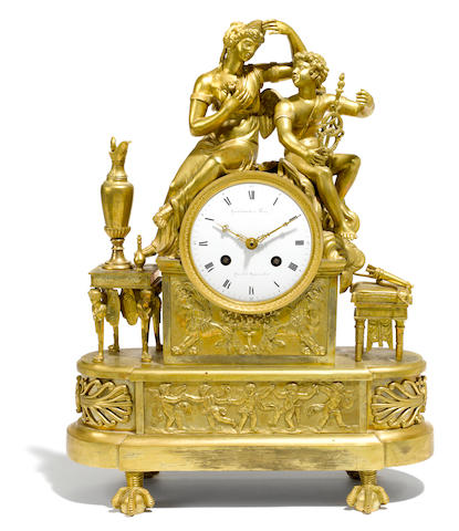 An Empire gilt bronze mantel clock  first quarter 19th century