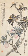 After Wu Changshou (20th c.) Loquats and Peaches, hanging scroll, ink and color on paper