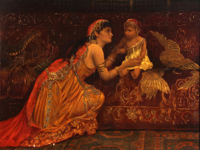 Attributed to Margaret Murray Cookesley (British, ?-1927) A woman of the harem with her child 12 1/2 x 17in