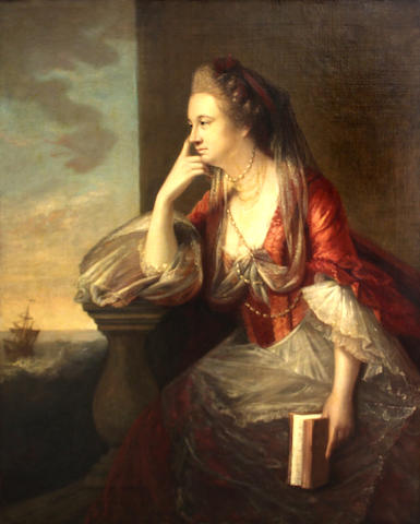 Follower of Tilly Kettle (London 1734-1786 Aleppo) A portrait of a lady, thought to be Maria, Duchess of Gloucester, three-quarter length, seated by a balustrade, a sailing ship in the distance 50 x 40in
