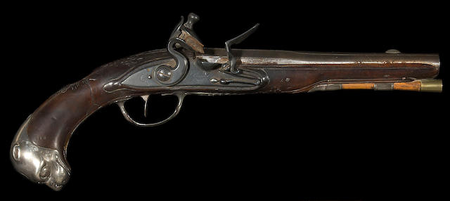 A silver-mounted French flintlock pistol