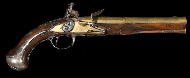 A silver-mounted continental flintlock pistol