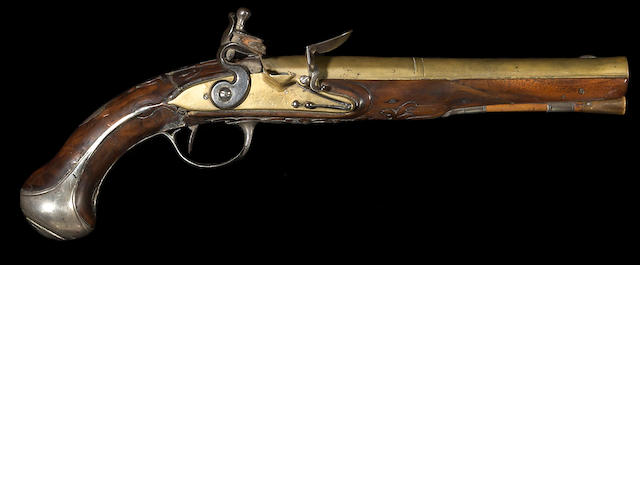A silver-mounted continental flintlock pistol